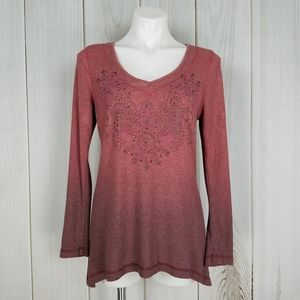 Live And Let Live Boho Ombre Fade Beaded Knit Top